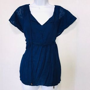 Doe + Rae Boho Top Sz M Navy Blue
